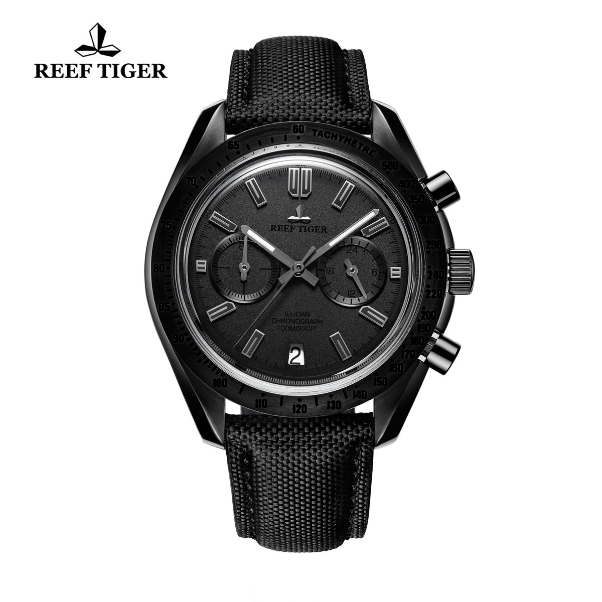 Reef Tiger Illidan Quartz Watches Chronograph PVD Case Black Dial Leather Strap Watches RGA3033-BHB