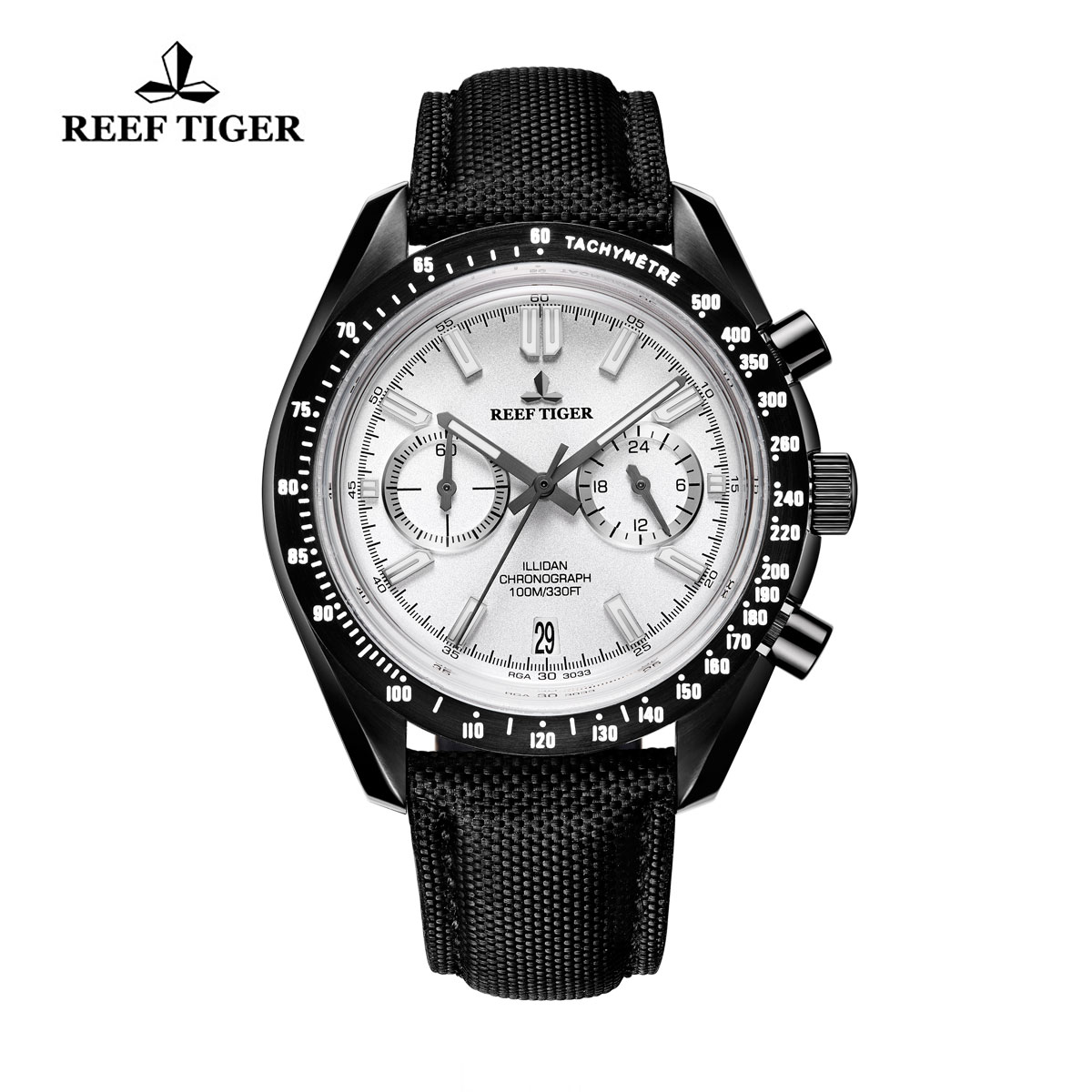 Reef Tiger Illidan Quartz Watches Chronograph PVD Case White Dial Leather Strap Watches RGA3033-BWB