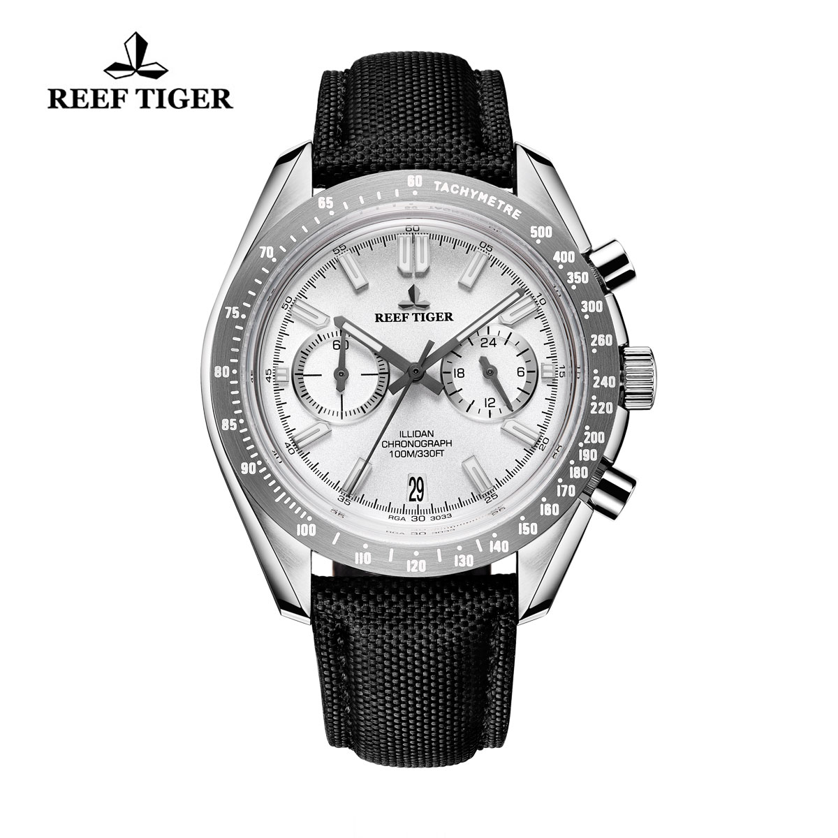 Reef Tiger Illidan Quartz Watches Chronograph Steel Case White Dial Leather Strap Watches RGA3033-YWB