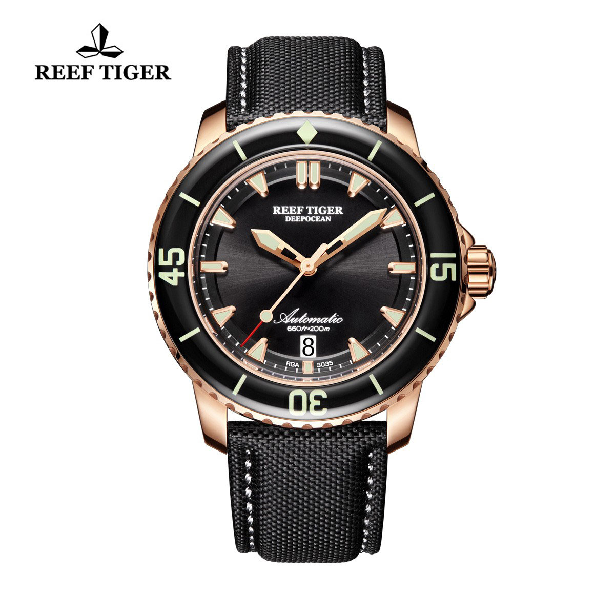 Reef Tiger Deep Ocean Casual Watches Automatic Watch Rose Gold Case RGA3035-PBBW