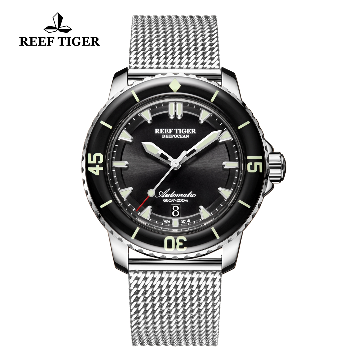 Reef Tiger Deep Ocean Men's Casual Steel Watches Black Dial Automatic Watch RGA3035-YBY