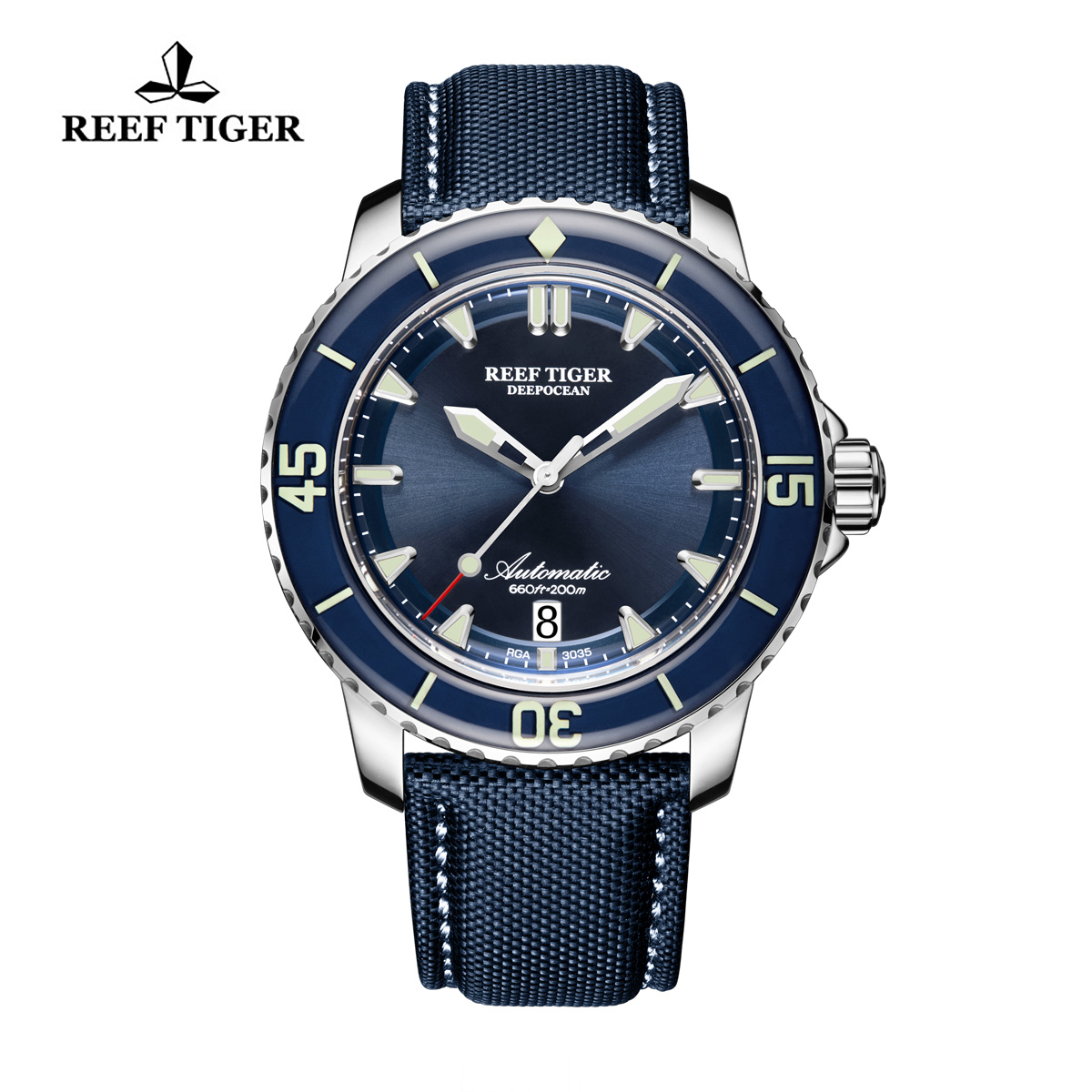 Reef Tiger Deep Ocean Casual Watches Automatic Watch Blue Dial Steel Case RGA3035-YLLW