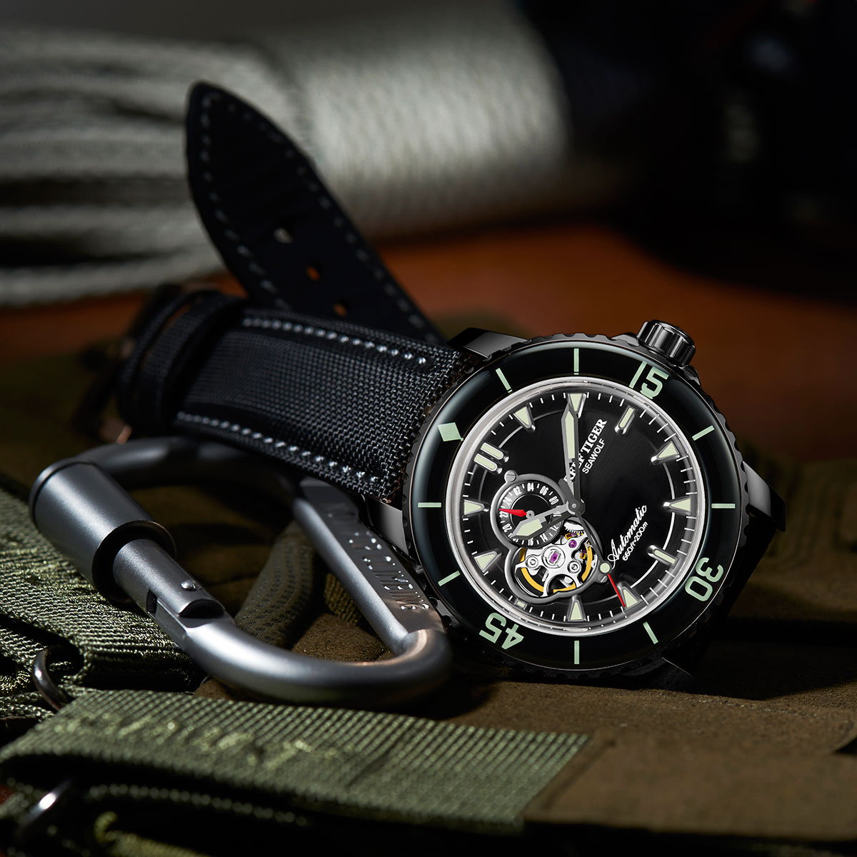 Reef Tiger Sea Wolf Dress Automatic Watch PVD Black Dial Black Nylon/Leather Strap RGA3039-BBB