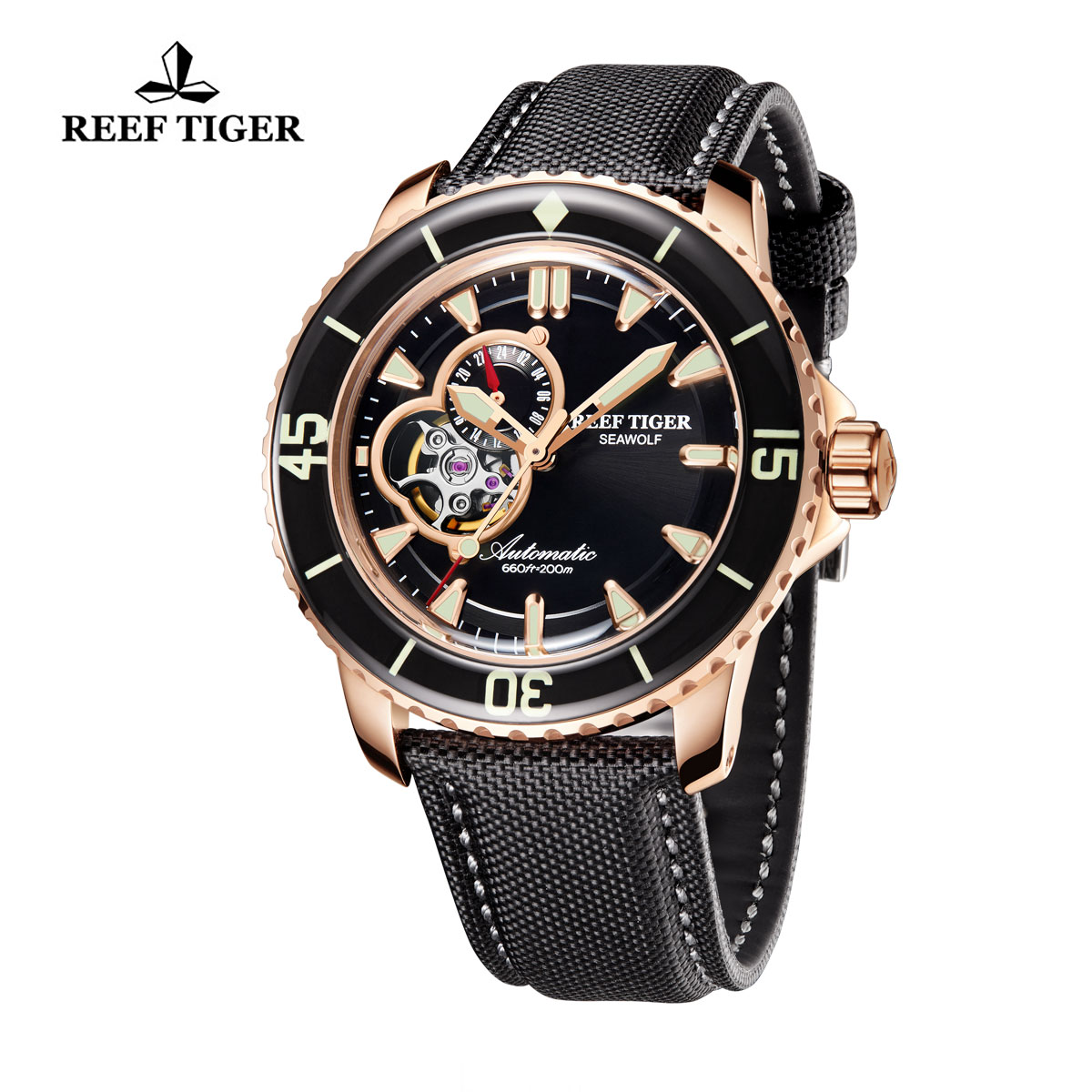 Reef Tiger Sea Wolf Dress Automatic Watch Rose Gold Black Dial Black Nylon/Leather Strap RGA3039-PBB