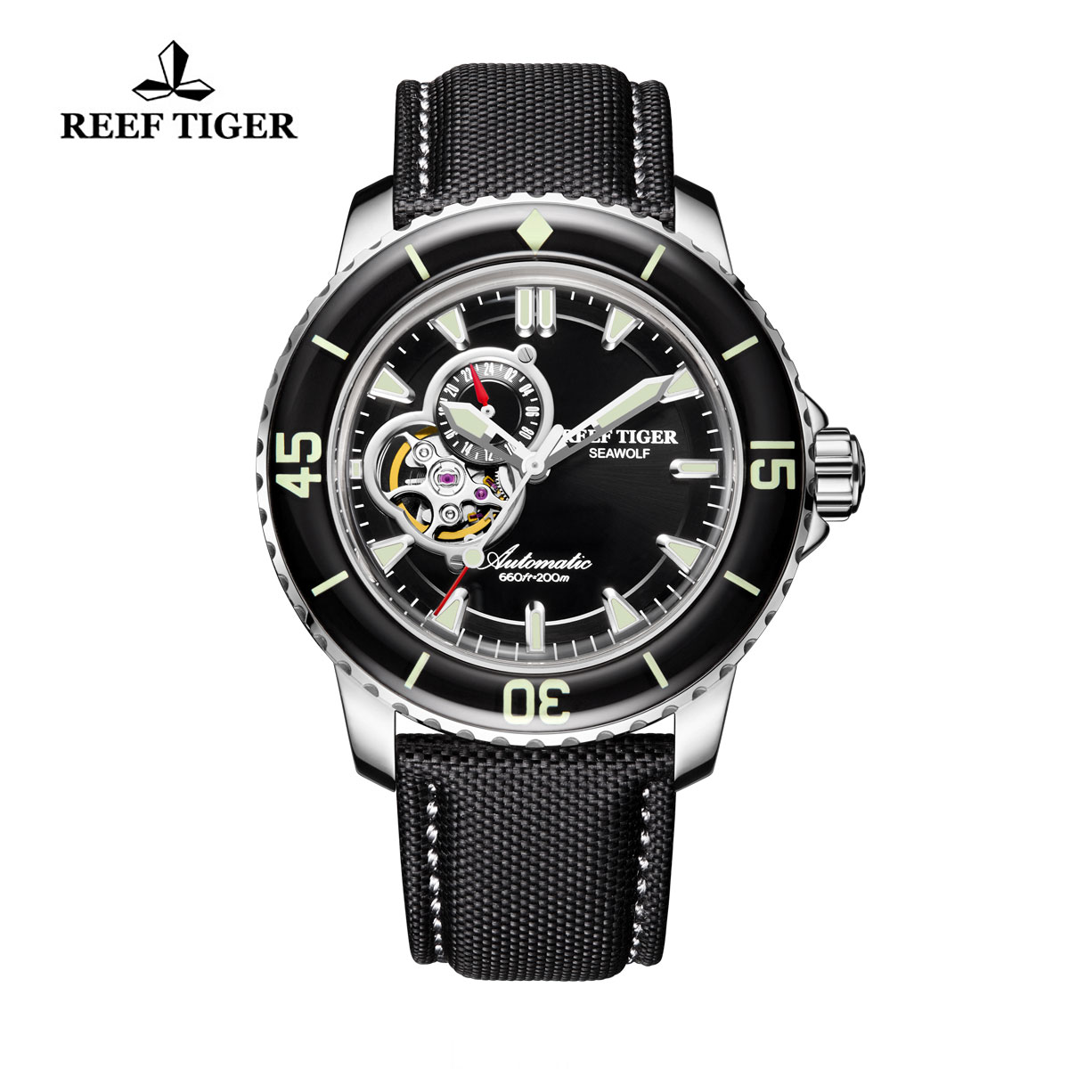 Reef Tiger Sea Wolf Dress Automatic Watch Steel Black Dial Black Nylon/Leather Strap RGA3039-YBB