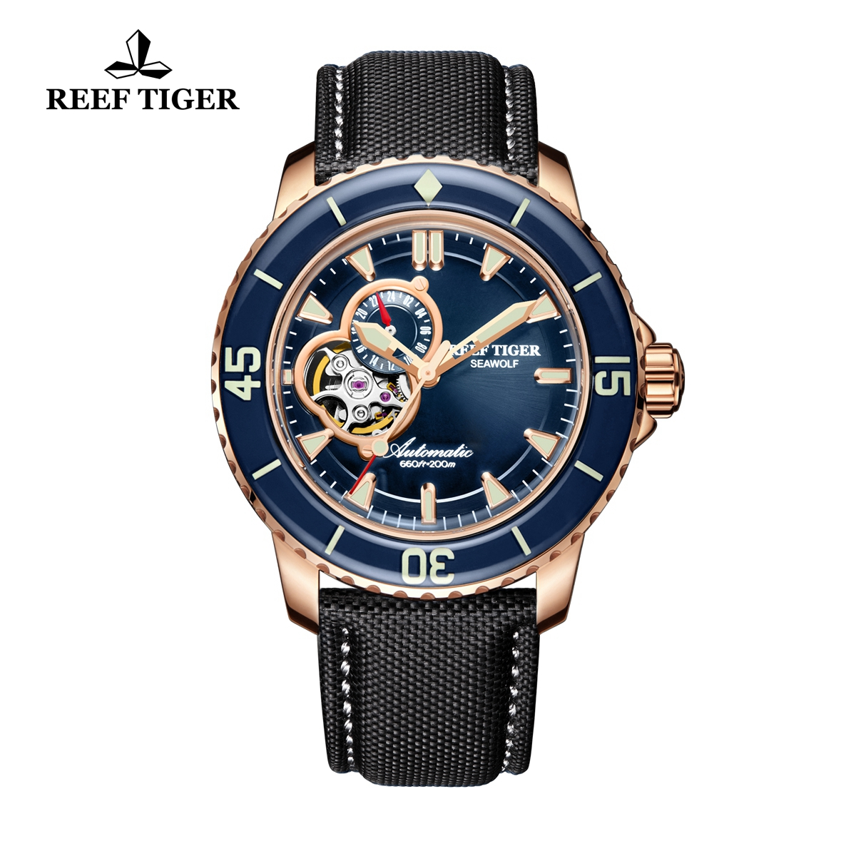 Reef Tiger Sea Wolf Men's Luxury Rose Gold Blue Dial Automatic Watch Black Nylon Strap Watches RGA3039-PLB