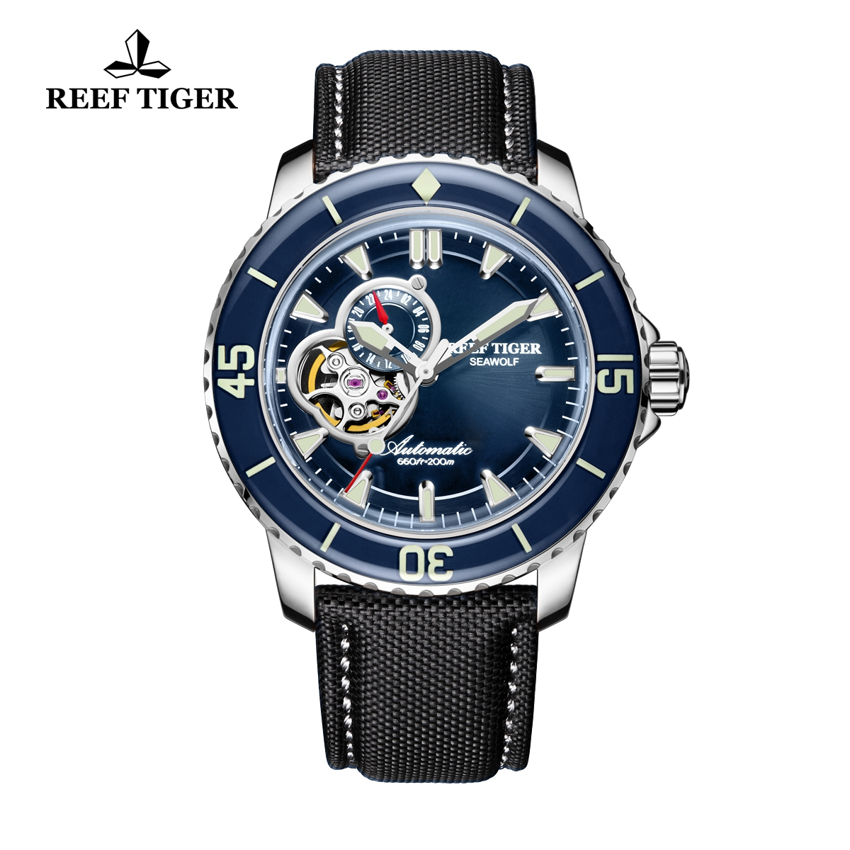 Reef Tiger Sea Wolf Fashion Men's  Automatic Watch Steel Blue Dial Black Nylon Strap With Date RGA3039-YLB