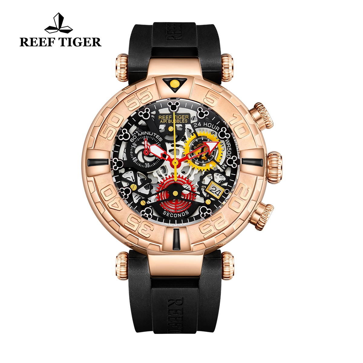 Reef Tiger Aurora Air Bubbles Fashion Rose Gold Rubber Strap Skeleton Dial Quartz Watch RGA3059-S-PBBB