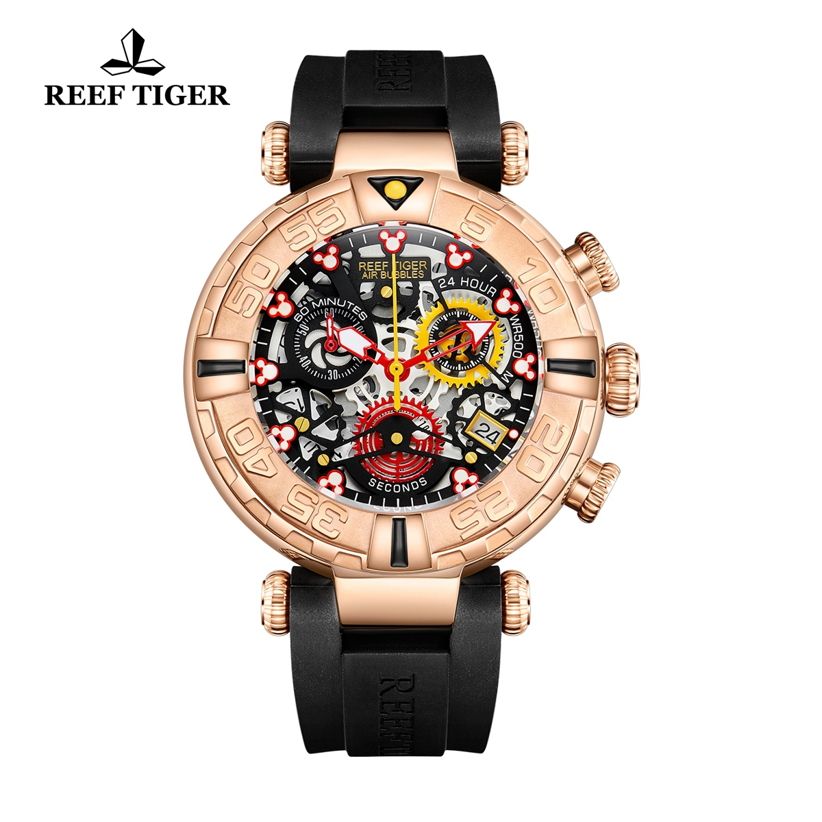 Reef Tiger Aurora Air Bubbles Fashion Rose Gold Skeleton Dial Rubber Strap Quartz Watch RGA3059-S-PBBR