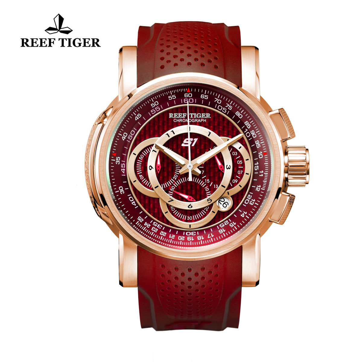 Reef Tiger Top Speed Sport Watches Chronograph Rose Gold Case Red Dial Rubber Strap Watches RGA3063-PRR