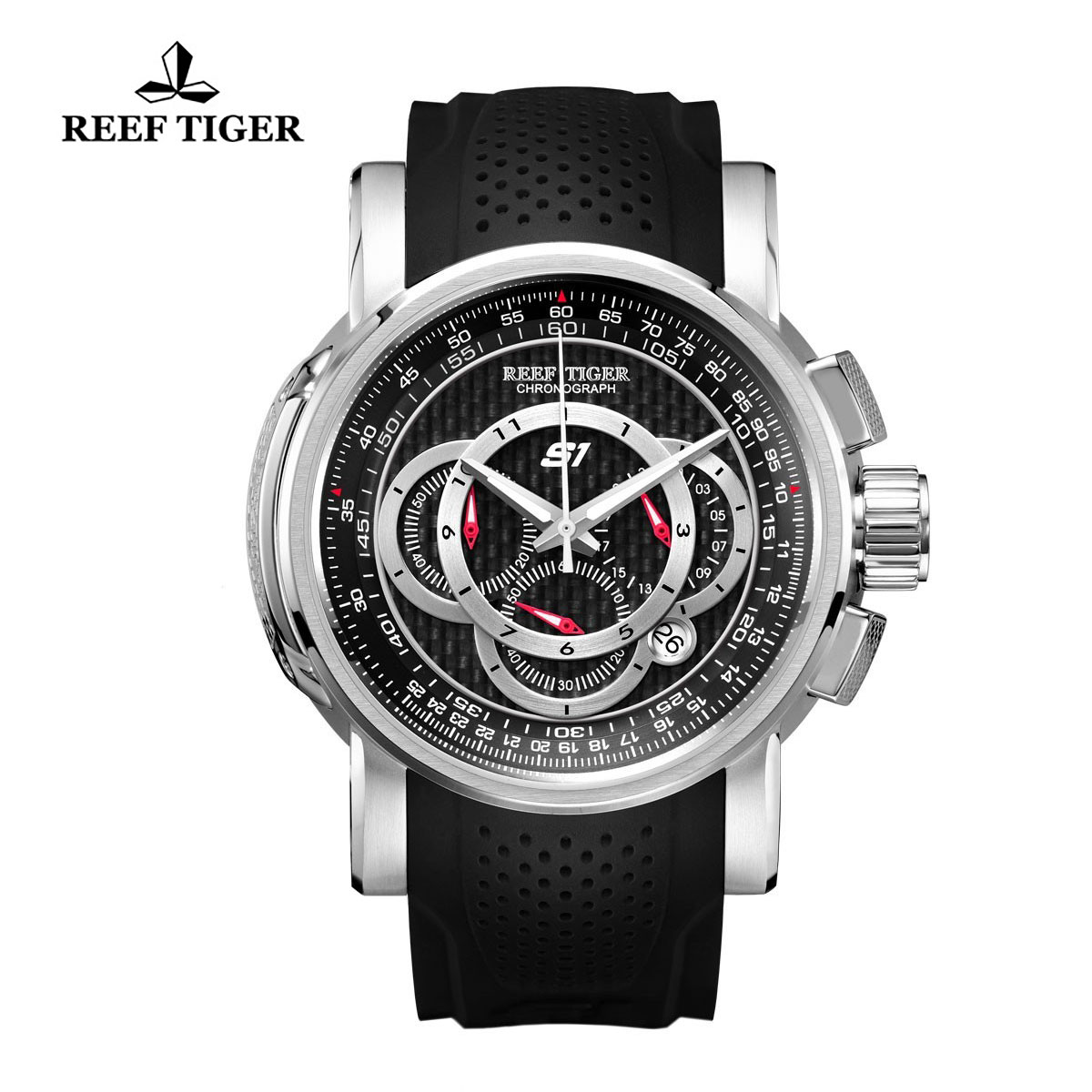 Reef Tiger Top Speed Sport Watches Chronograph Steel Case Black Dial Rubber Strap Watches RGA3063-YBB