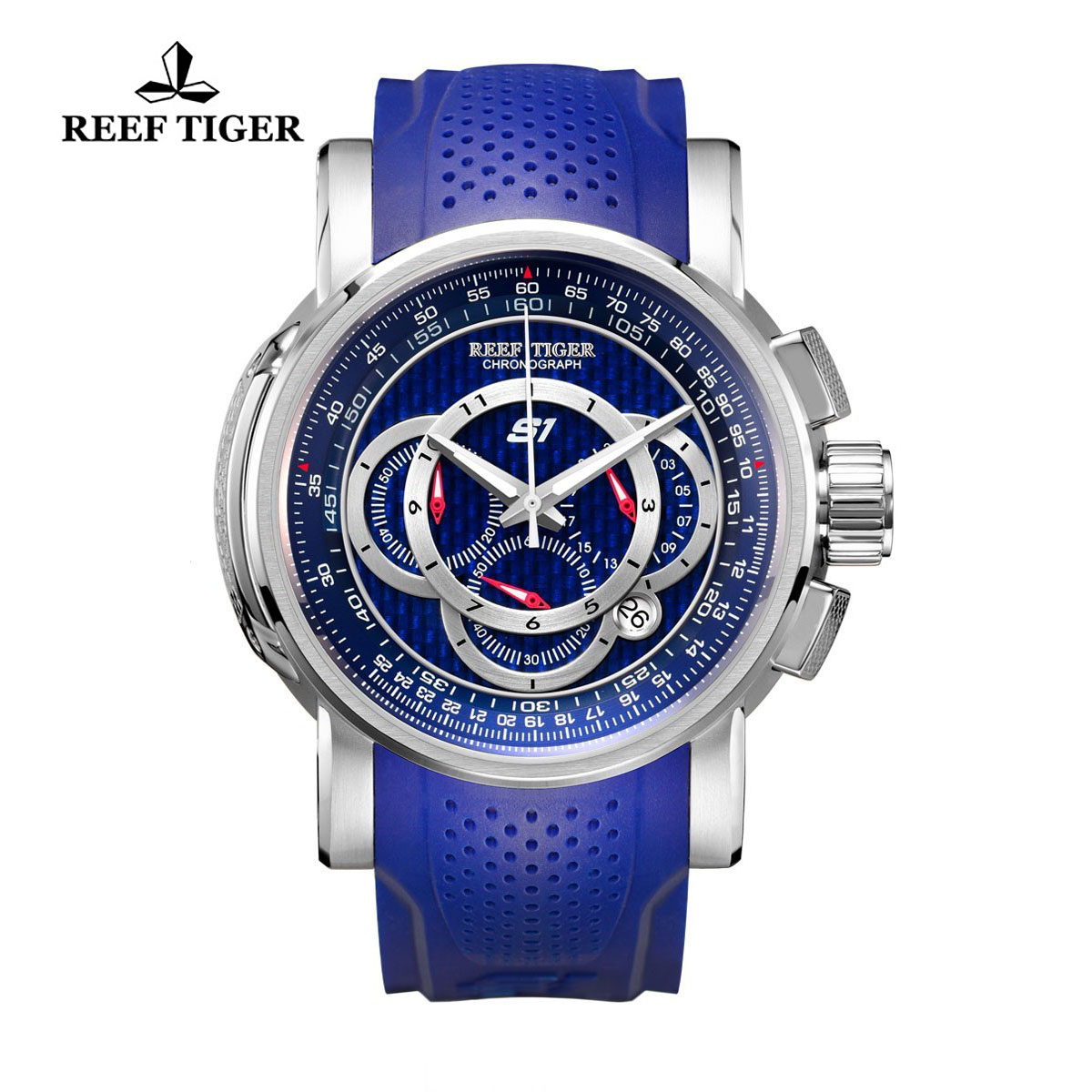 Reef Tiger Top Speed Sport Watches Chronograph Steel Case Blue Dial Rubber Strap Watches RGA3063-YLL