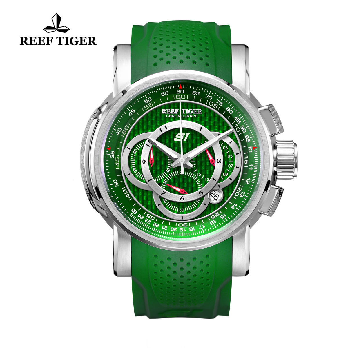 Reef Tiger Top Speed Sport Watches Chronograph Steel Case Green Dial Rubber Strap Watches RGA3063-YNN