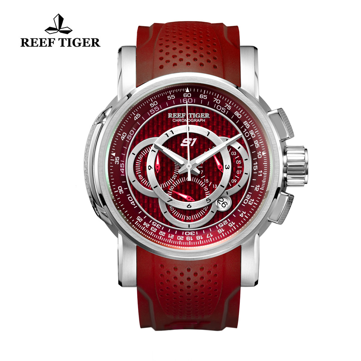 Reef Tiger Top Speed Sport Watches Chronograph Steel Case Red Dial Rubber Strap Watches RGA3063-YRR