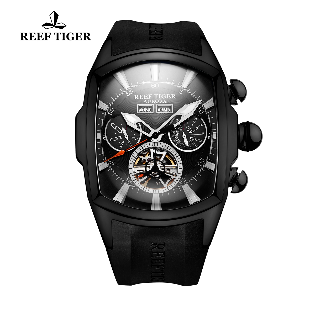 Reef Tiger Automatic Sport Watches PVD Case Black Dial Rubber Strap Watches RGA3069-BBB