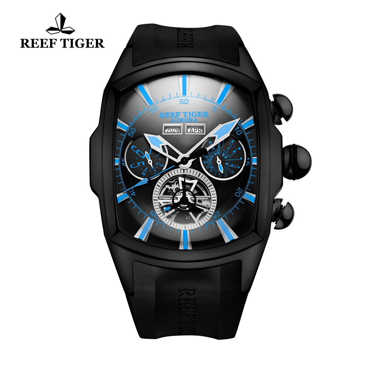 Reef Tiger Automatic Sport Watches PVD Case Black Dial Rubber Strap Watches RGA3069-BBBL