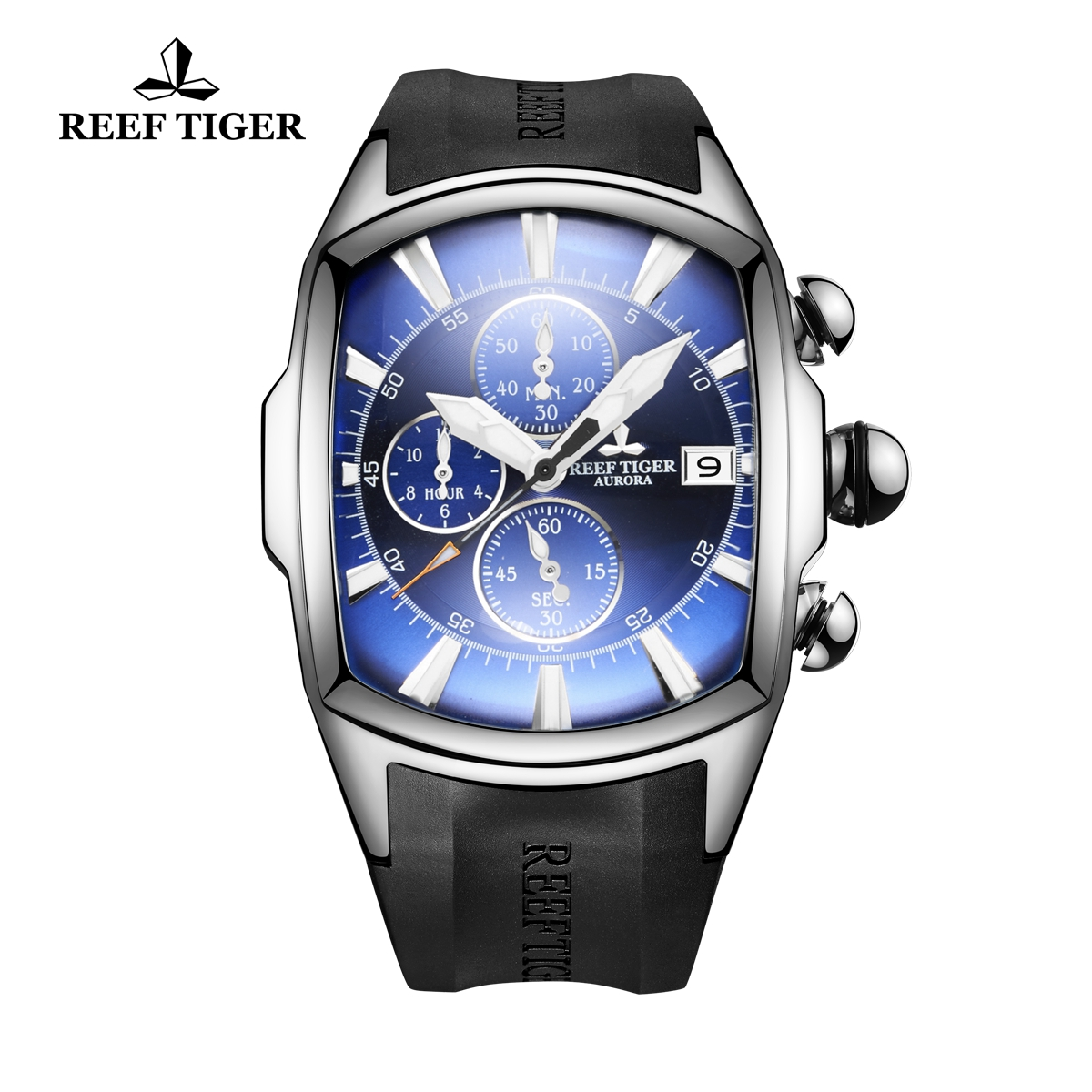 Reef Tiger Tank Men's Watch Steel Black Rubber Strap Blue Dial Quartz Watch RGA3069-T-YLB