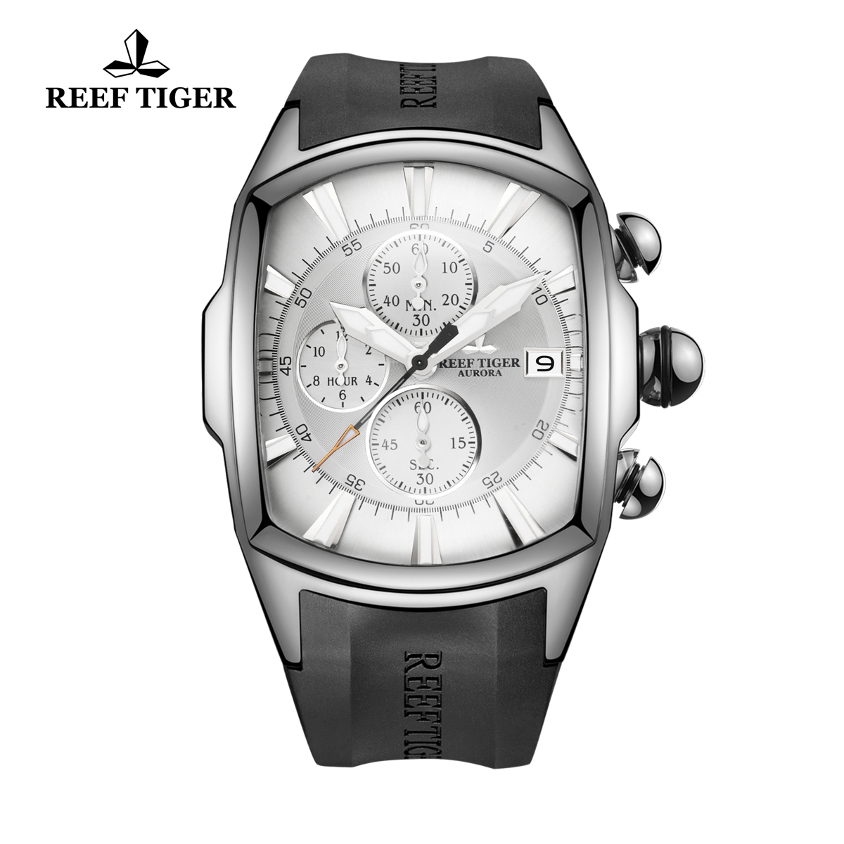 Reef Tiger Tank Men's Watch Steel Black Rubber Strap White Dial Quartz Watch RGA3069-T-YWB