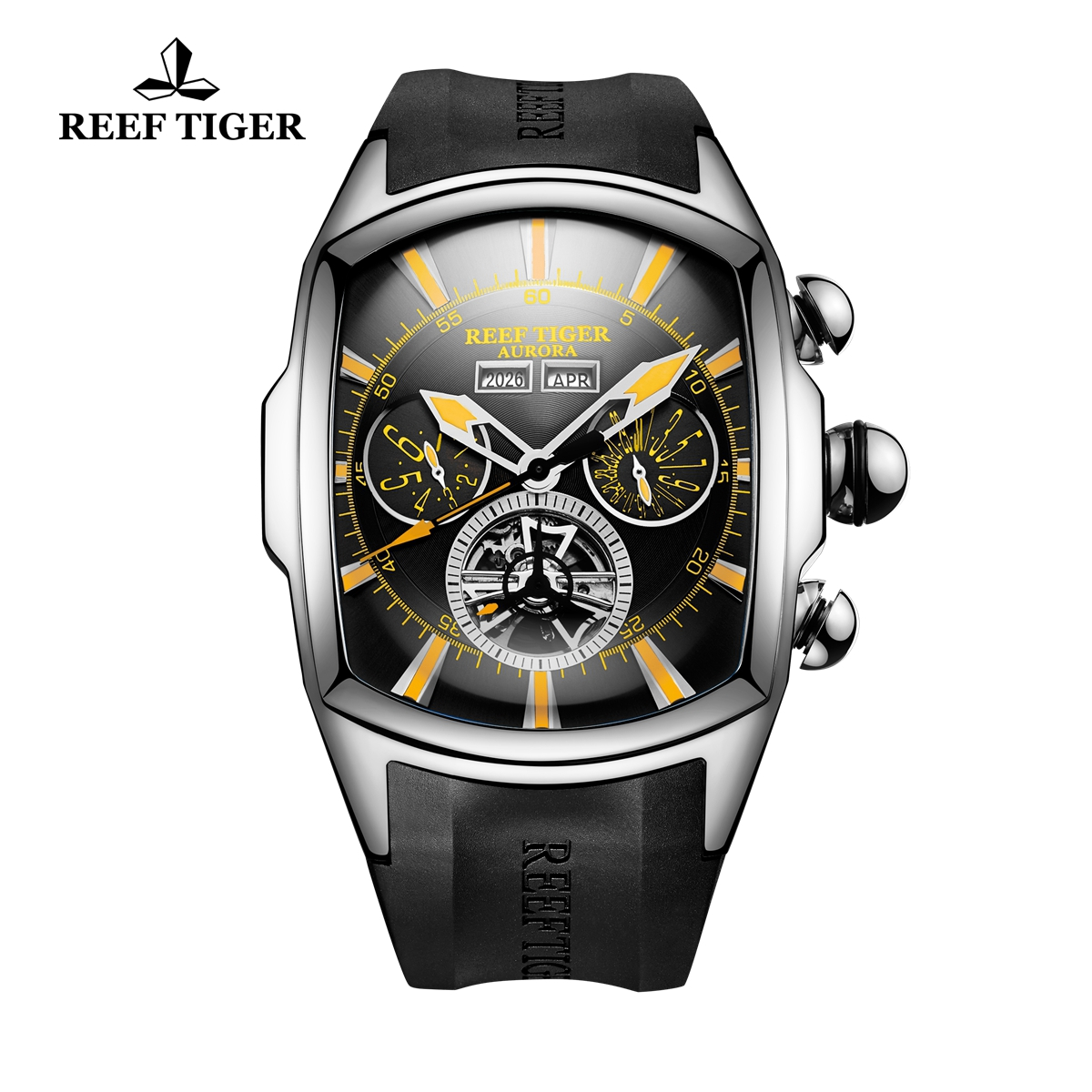 Reef Tiger Automatic Sport Watches Stainless Steel Case Black Dial Rubber Strap Watches RGA3069-YBBG