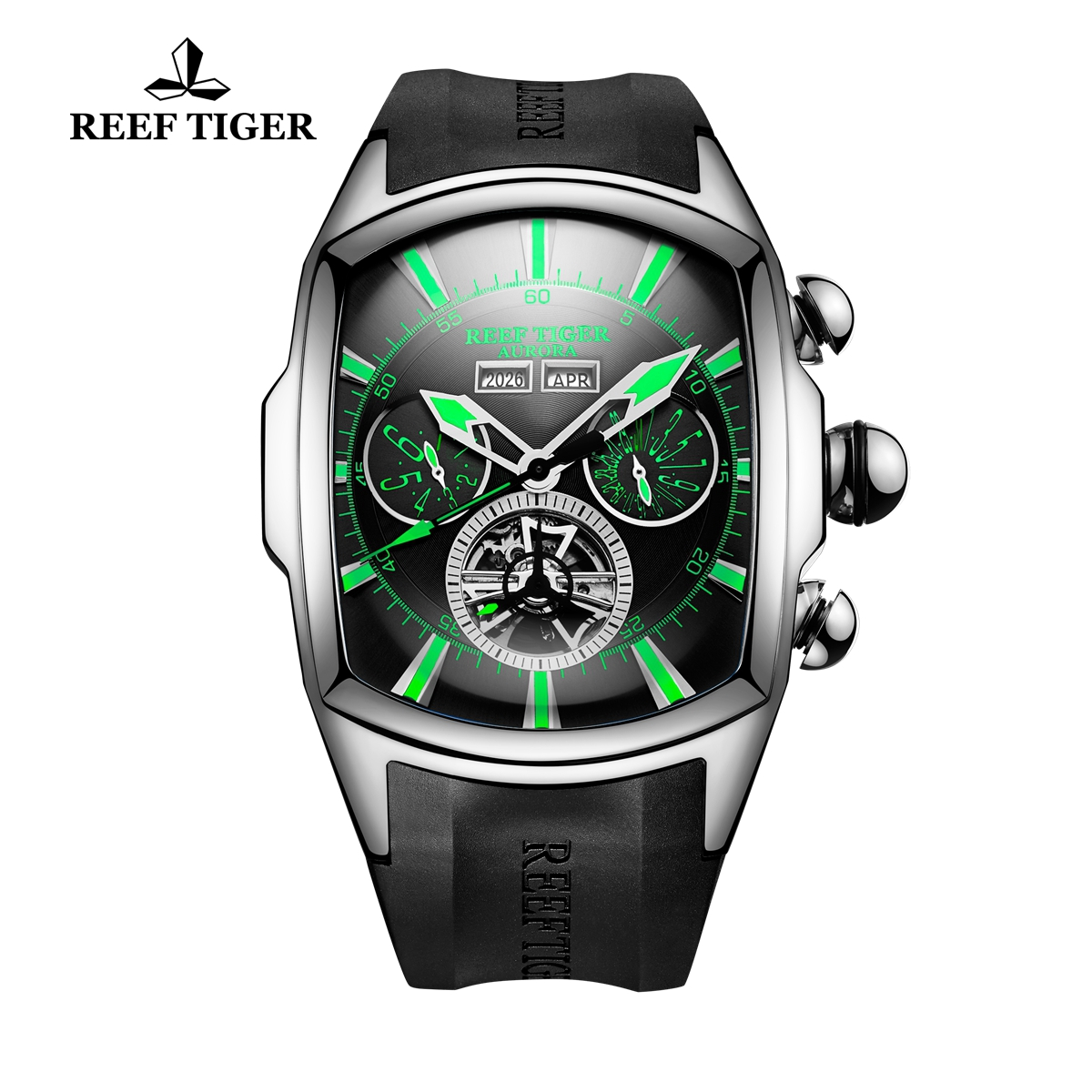 Reef Tiger Automatic Sport Watches Stainless Steel Case Black Dial Rubber Strap Watches RGA3069-YBBN