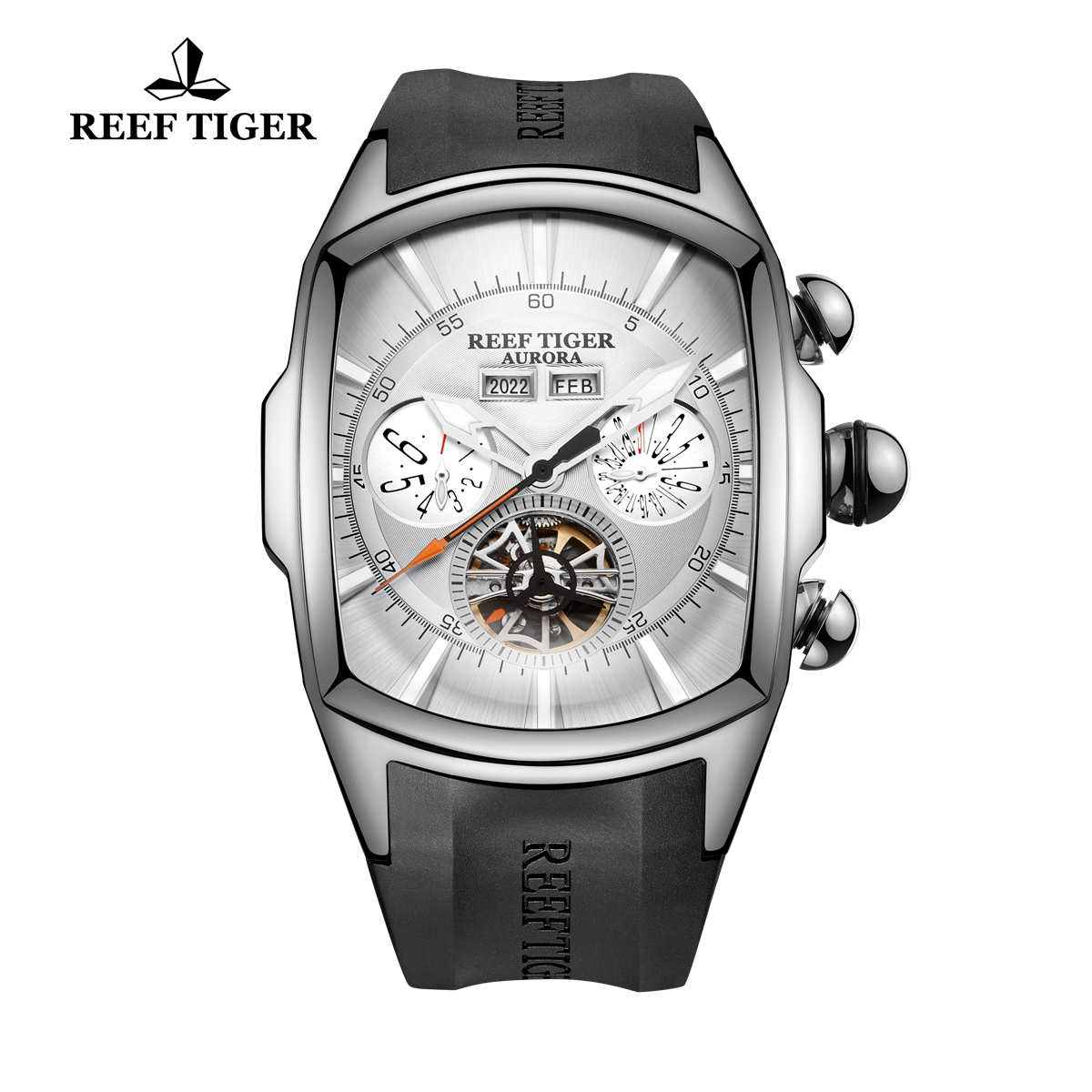Reef Tiger Automatic Sport Watches Stainless Steel Case White Dial Rubber Strap Watches RGA3069-YWB