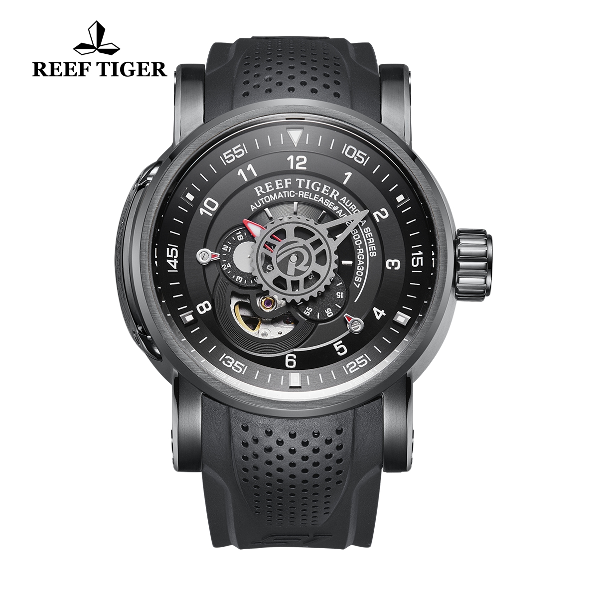 Reef Tiger Aurora Machinist Fashion PVD Rubber Strap Black Dial Automatic Watch RGA30S7-BBB