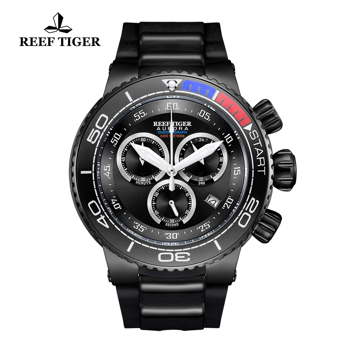 Reef Tiger Aurora Grand Ocean Fashion PVD Watch Rubber Strap Black Dial Chronograph Quartz Watch RGA3168-BBB