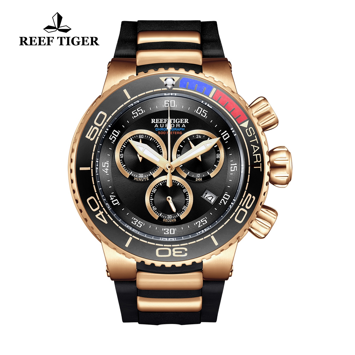 Reef Tiger Aurora Grand Ocean Fashion Rose Gold Watch Rubber Strap Black Dial Chronograph Quartz Watch RGA3168-PBB