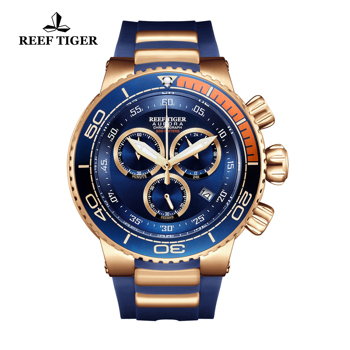 Reef Tiger Aurora Grand Ocean Rose Gold Fashion Watch Rubber Strap Blue Dial Chronograph Quartz Watch RGA3168-PLL