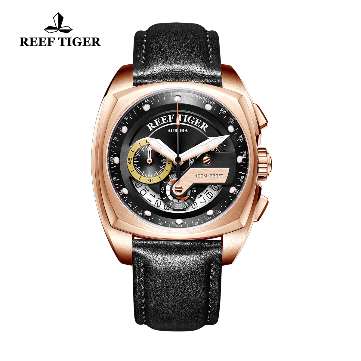 Reef Tiger Aurora Formula Race Fashion Rose Gold Leather Strap Black Dial Quartz Watch RGA3363-PBB