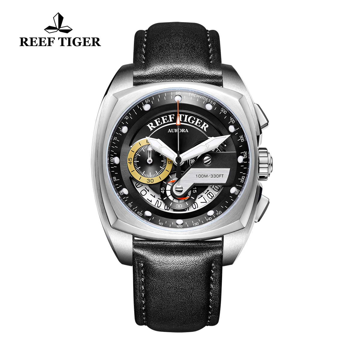 Reef Tiger Aurora Formula Race Fashion Steel Black Dial Leather Strap Quartz Watch RGA3363-YBB