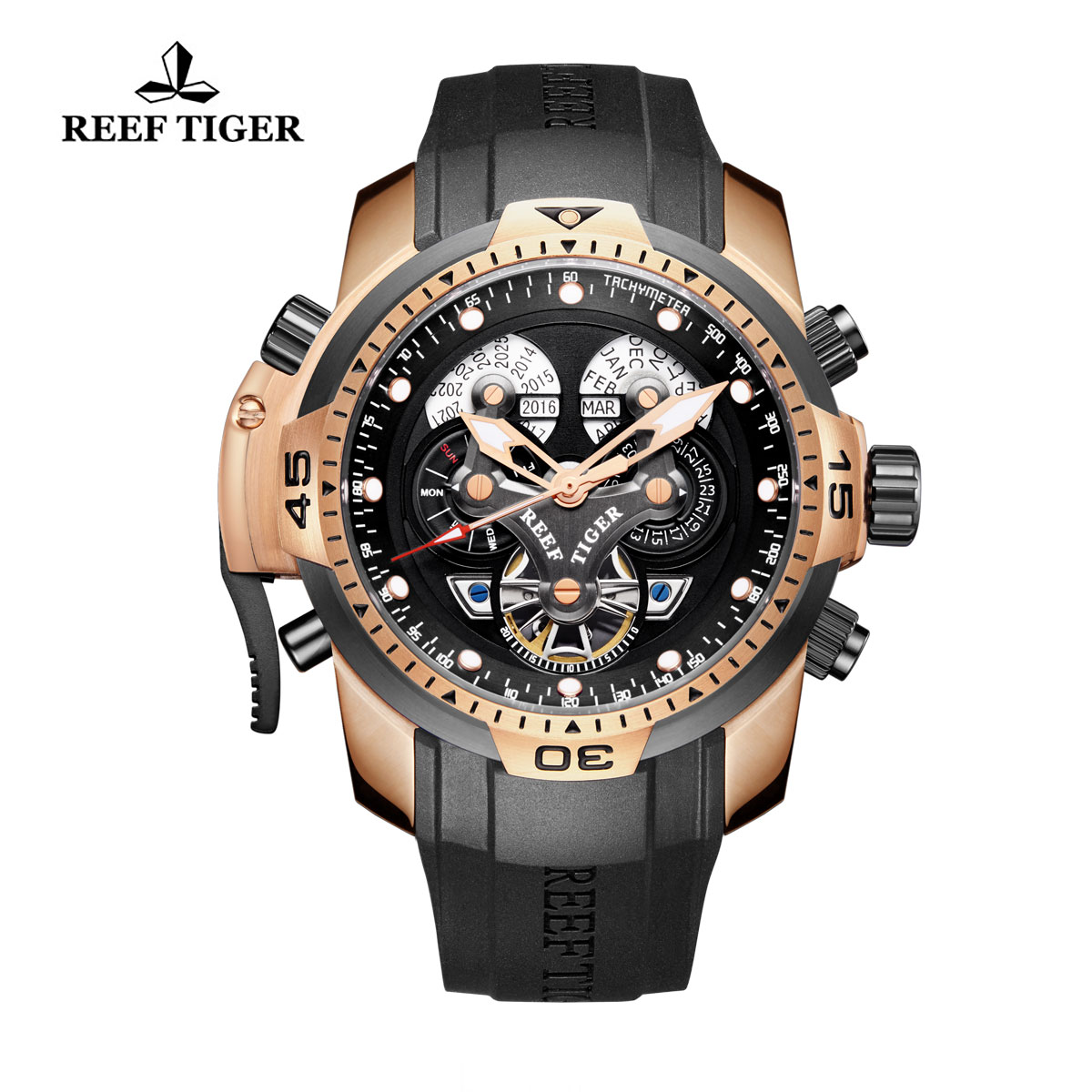 Reef Tiger Concept Sport Watches Automatic Watch Black Case Black Rubber RGA3503-PBBB