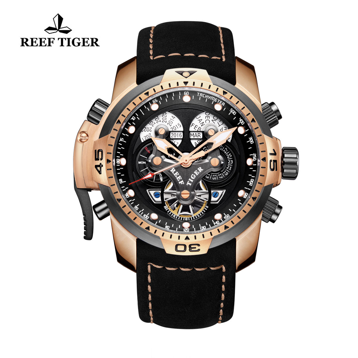 Reef Tiger Concept Sport Watches Automatic Watch Rose Gold Case Black Leather RGA3503-PBBLB