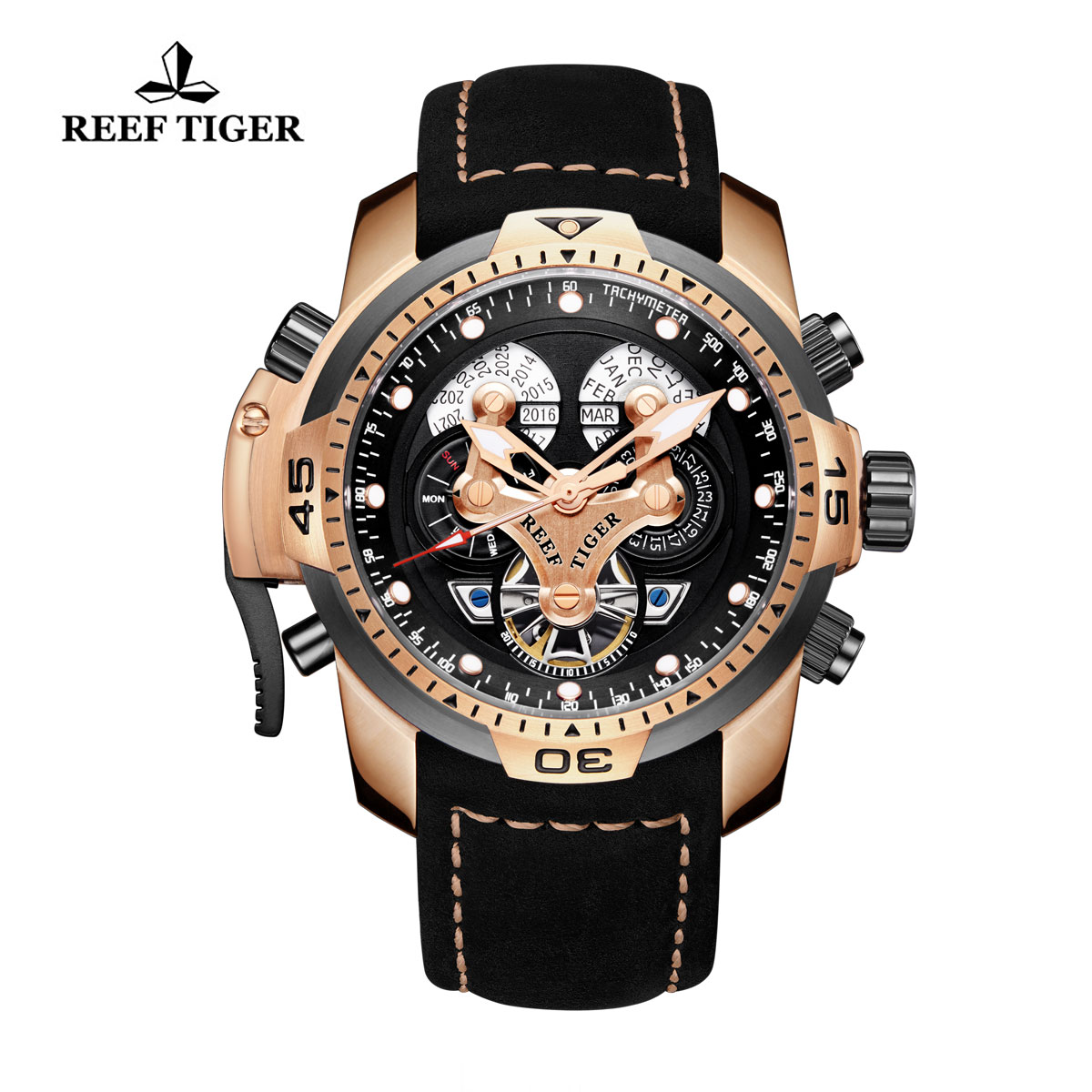 Reef Tiger Concept Sport Watches Automatic Watch Rose Gold Case Black Leather RGA3503-PBBLG