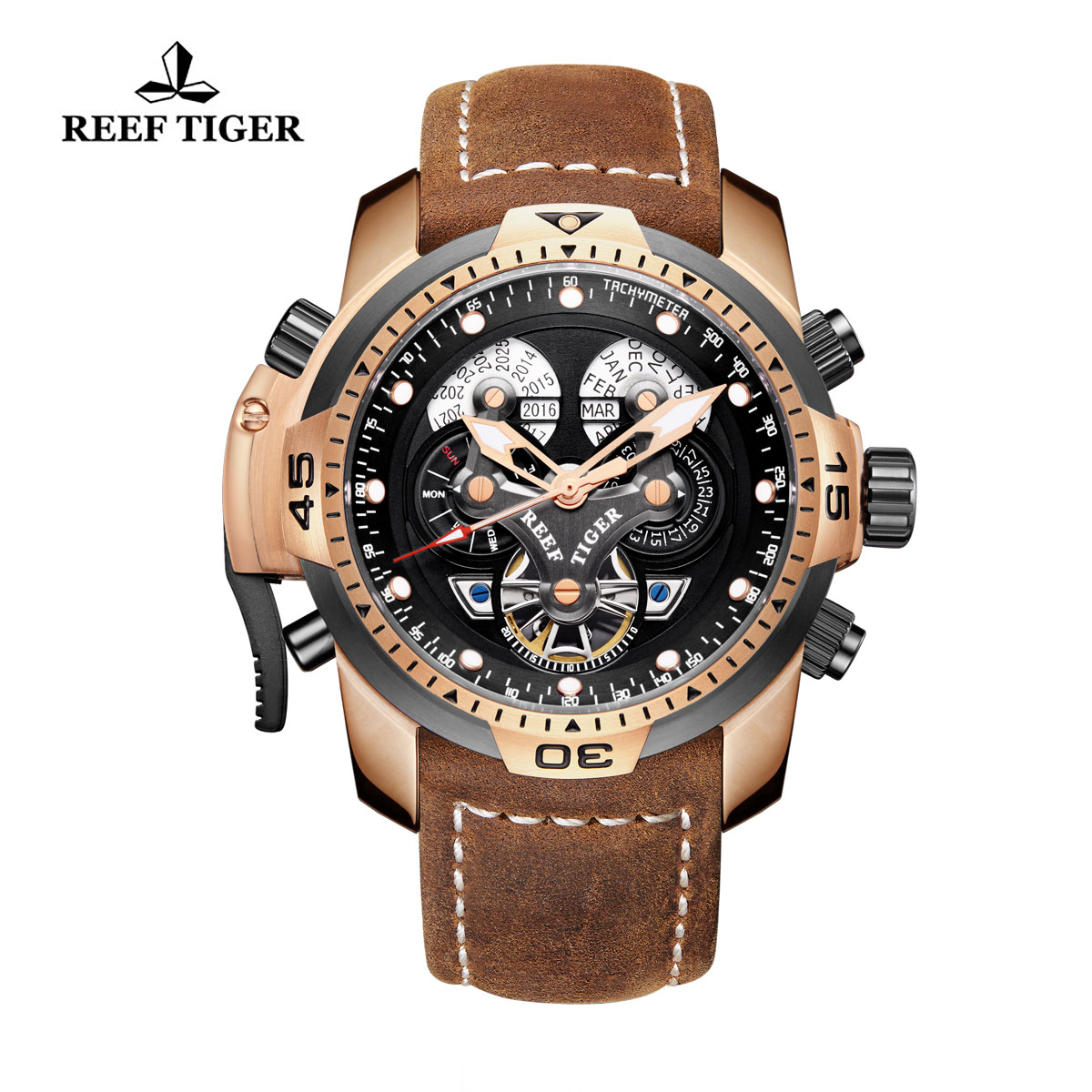 Reef Tiger Concept Sport Watches Automatic Watch Rose Gold Case Brown Leather RGA3503-PBSB