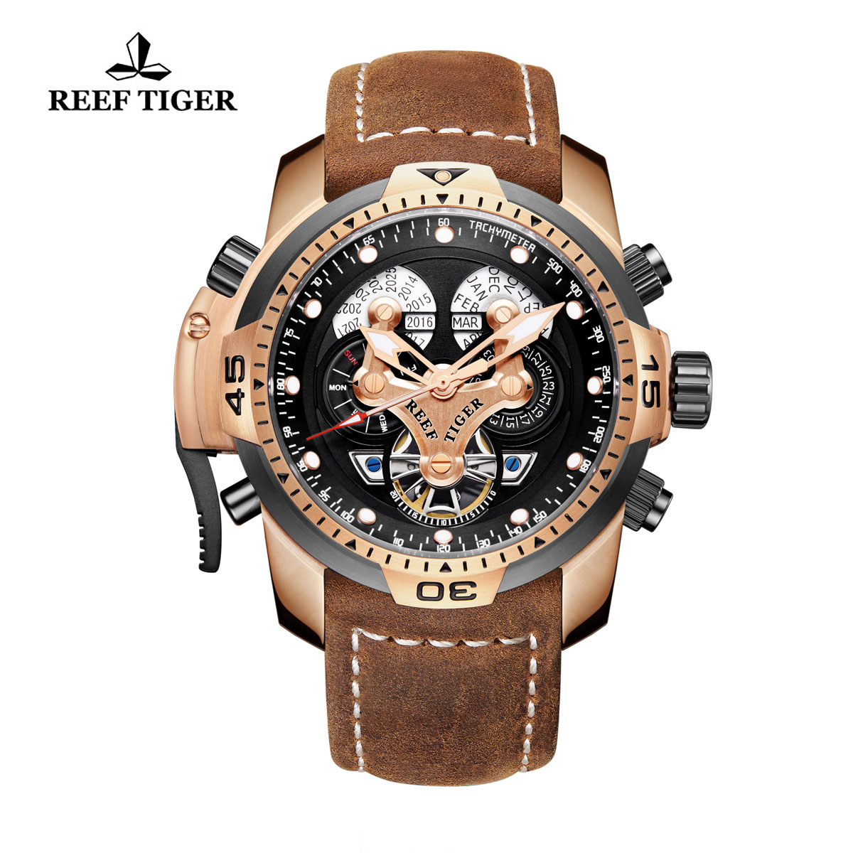 Reef Tiger Concept Sport Watches Automatic Watch Rose Gold Case Brown Leather RGA3503-PBSG