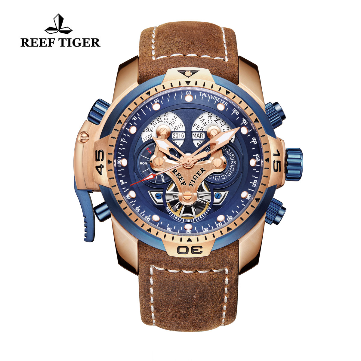 Reef Tiger Concept Sport Watches Automatic Watch Rose Gold Case Brown Leather RGA3503-PLSG