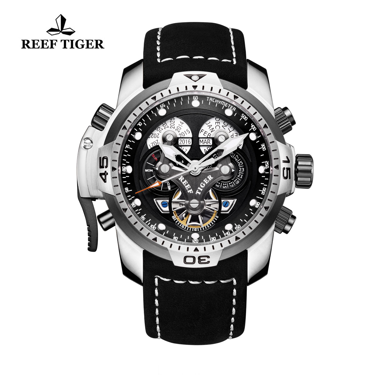 Reef Tiger Concept Sport Watches Automatic Watch Steel Case Black Leather RGA3503-YBBLB