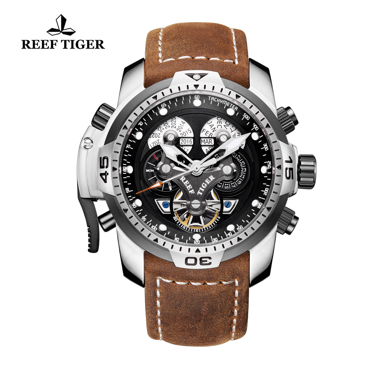 Reef Tiger Concept Sport Watches Automatic Watch Steel Case Brown Leather RGA3503-YBSB