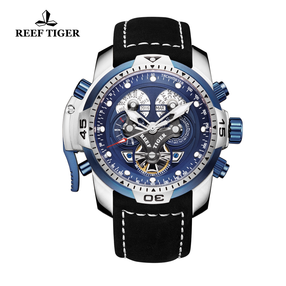 Reef Tiger Concept Steel Case Sport Watches Black Leather Automatic Watch RGA3503-YLBLB