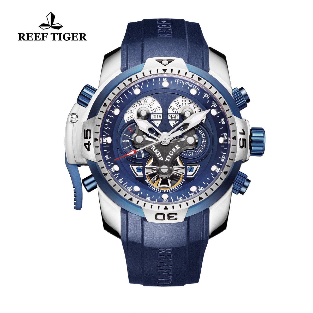 Reef Tiger Concept Sport Watches Automatic Watch Steel Case Blue Rubber RGA3503-YLLB