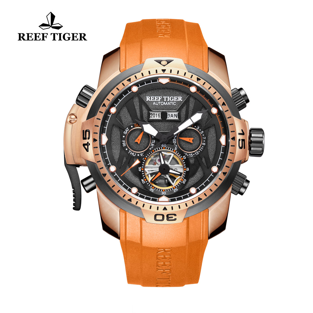 Reef Tiger Transformer Sport Watches Complicated Watch Rose Gold Case Orange Rubber RGA3532-PBOO