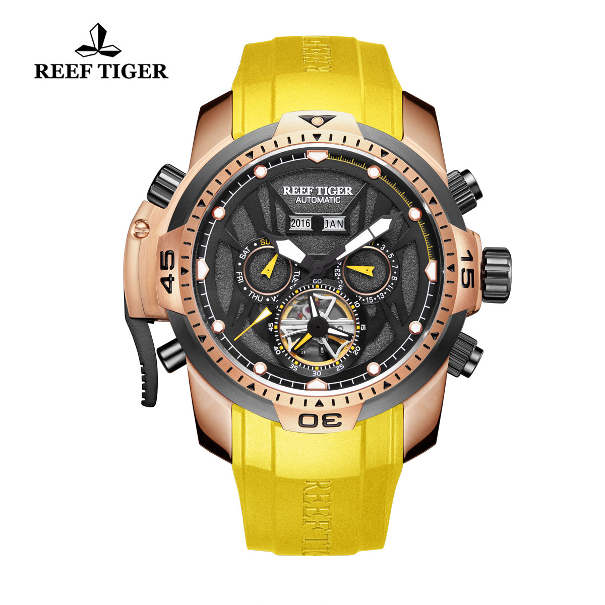 Reef Tiger Transformer Sport Watches Complicated Watch Rose Gold Case Yellow Rubber RGA3532-PBYY