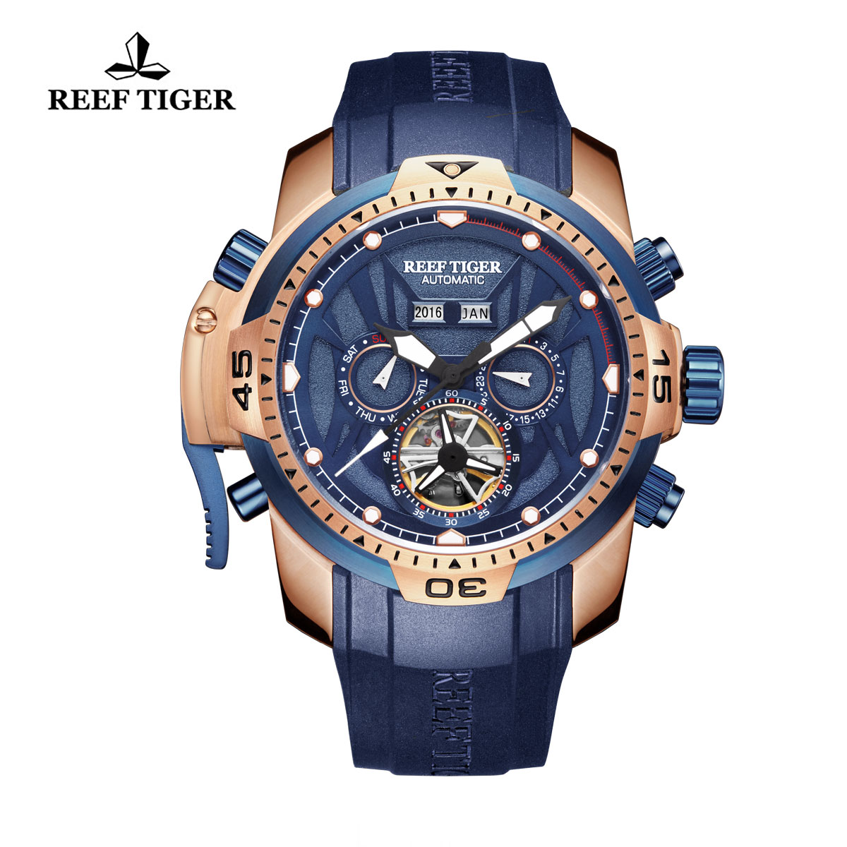 Reef Tiger Transformer Sport Watches Complicated Watch Rose Gold Case Blue Rubber RGA3532-PLBWS