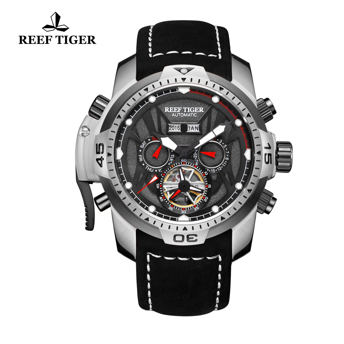 Reef Tiger Transformer Sport Watches Complicated Watch Black Leather Strap Steel Case RGA3532-YBBLR
