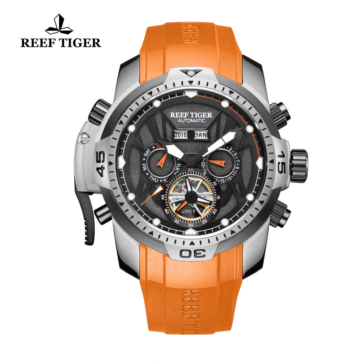 Reef Tiger Transformer Sport Watches Complicated Watch Steel Case Orange Rubber RGA3532-YBBR
