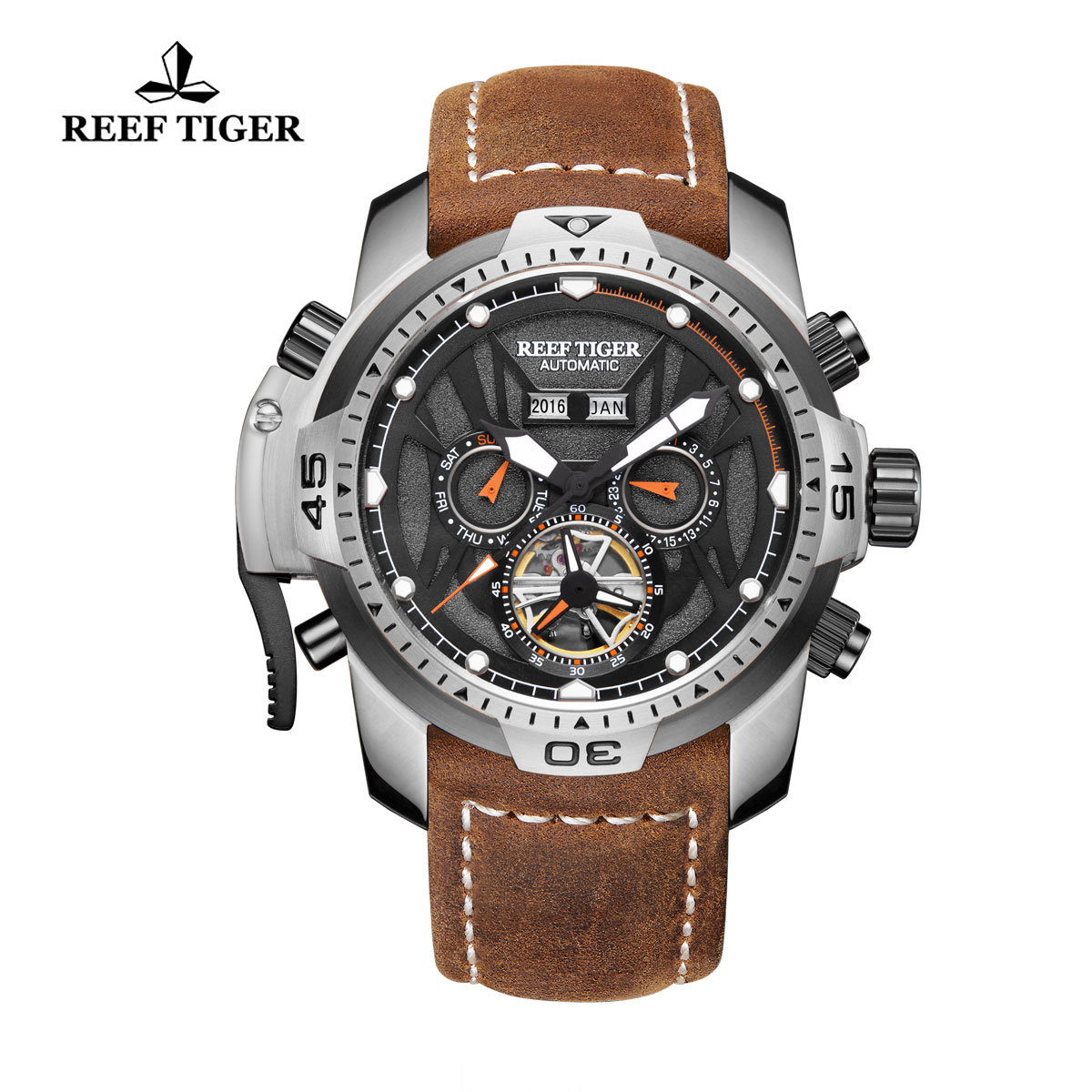 Reef Tiger Transformer Sport Watches Complicated Watch Steel Case Brown Leather RGA3532-YBRO