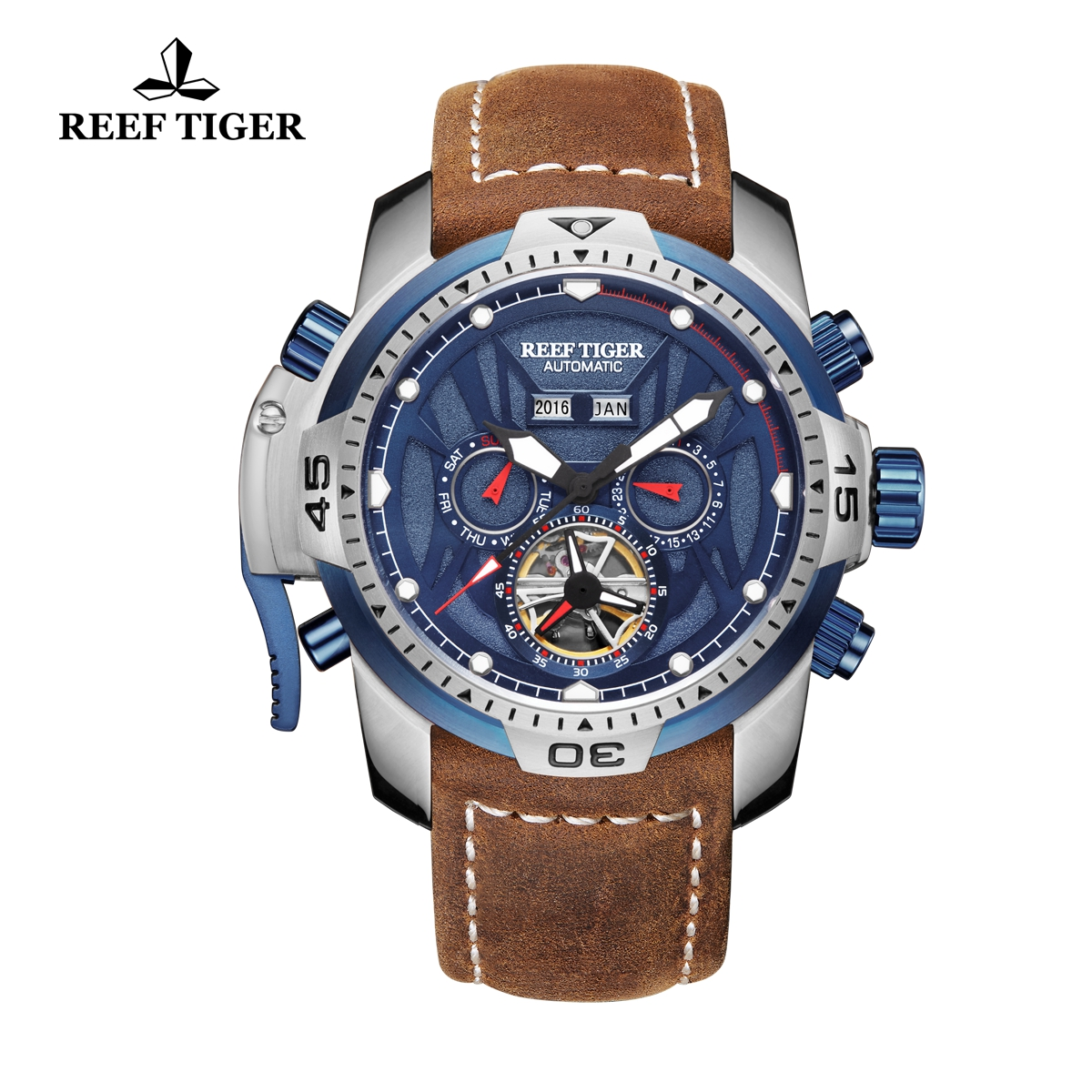 Reef Tiger Transformer Sport Watches Complicated Brown Leather Watch Steel Case RGA3532-YLSR