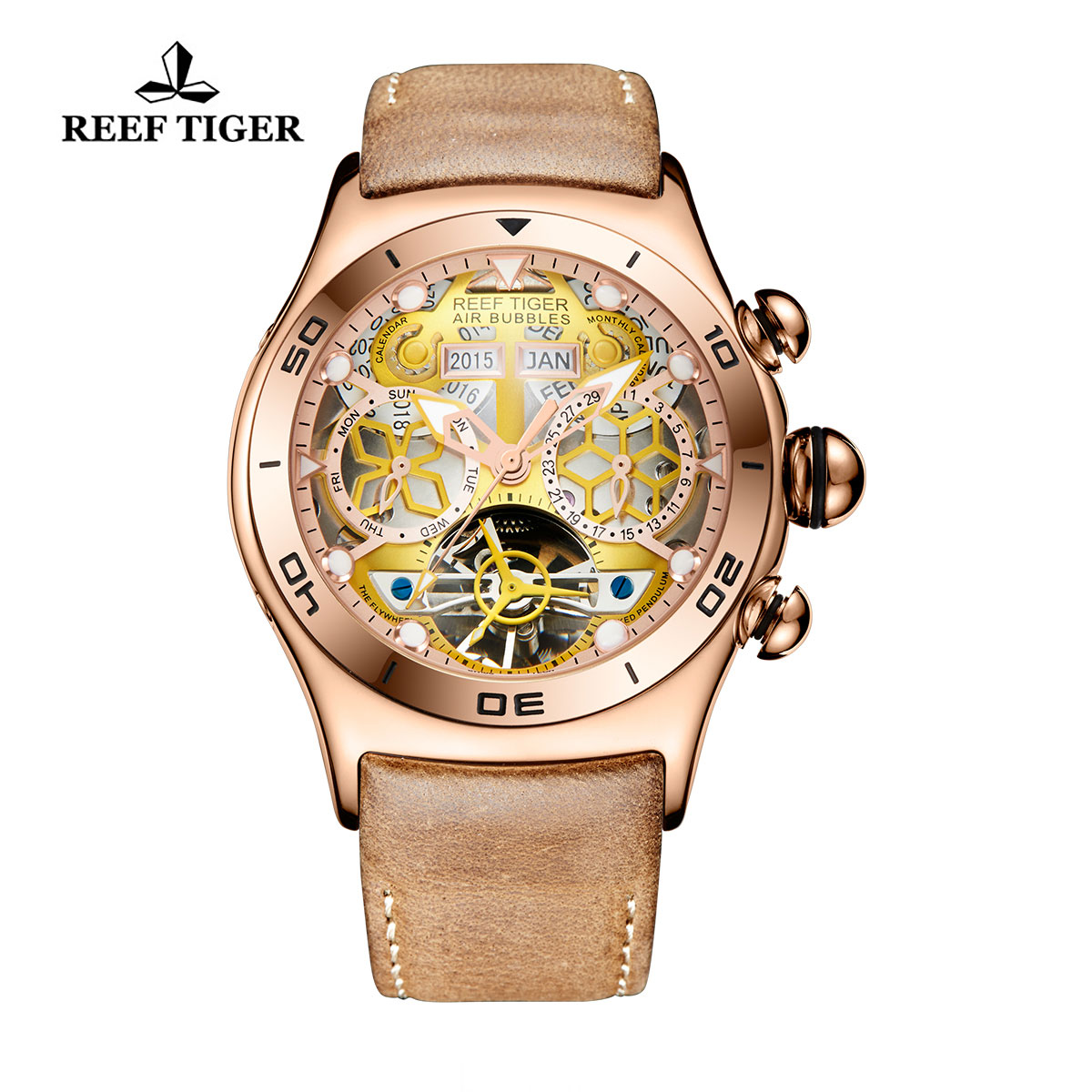 Reef Tiger Sport Casual Watches Automatic Watch Rose Gold Case Leather Strap RGA703-PGB