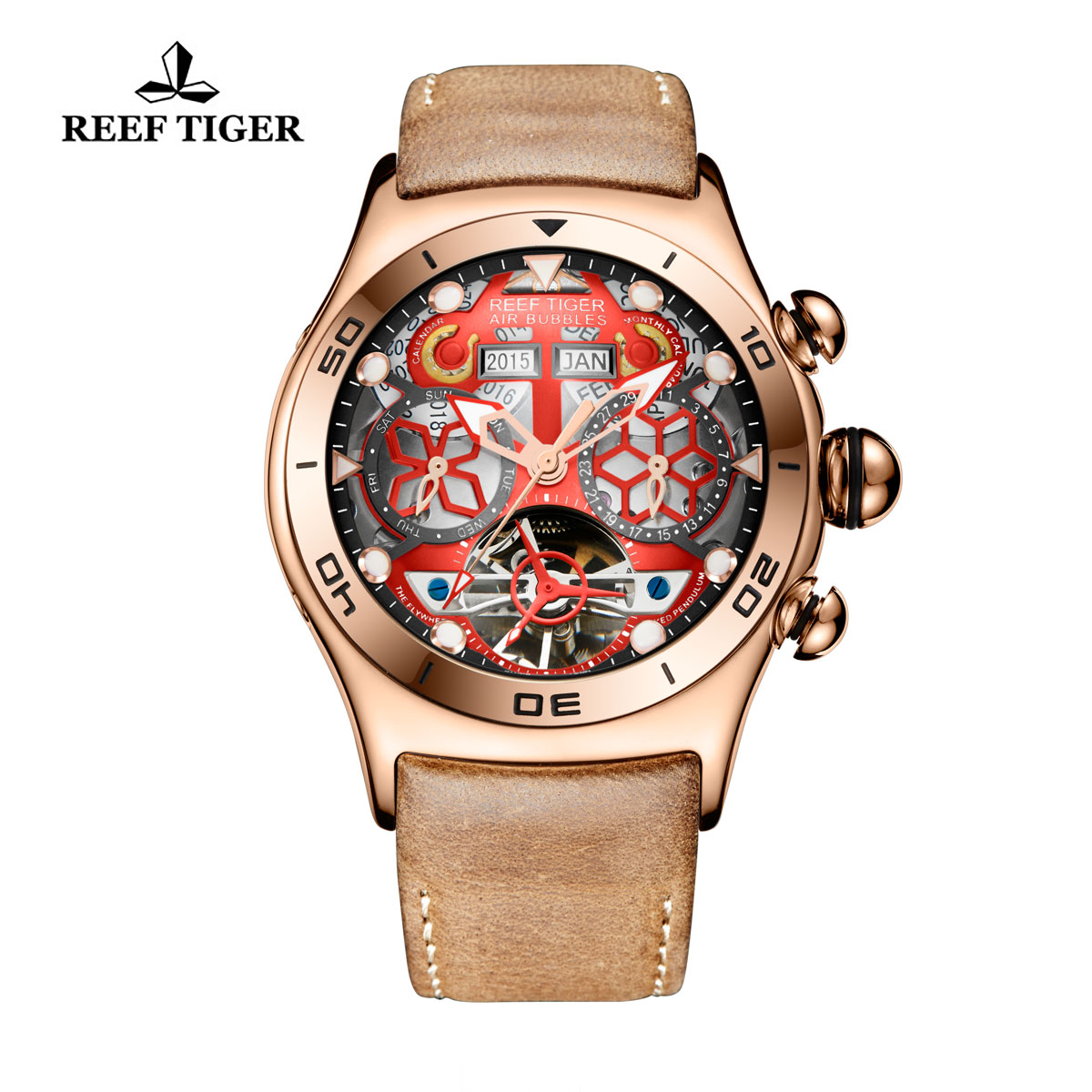 Reef Tiger Sport Casual Watches Automatic Watch Rose Gold Case Leather Strap RGA703-PRB